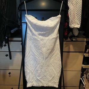Strapless White Sequin Mini Dress